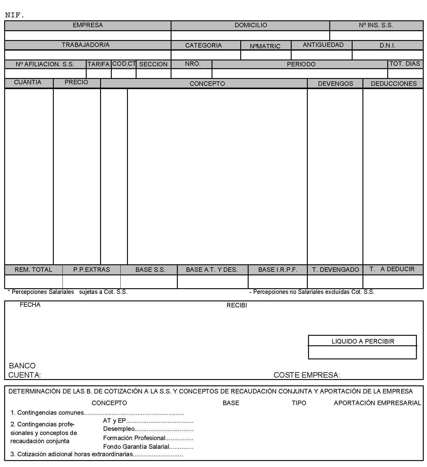 Modificaciones relativas al recibo de salarios i for Hoja nomina